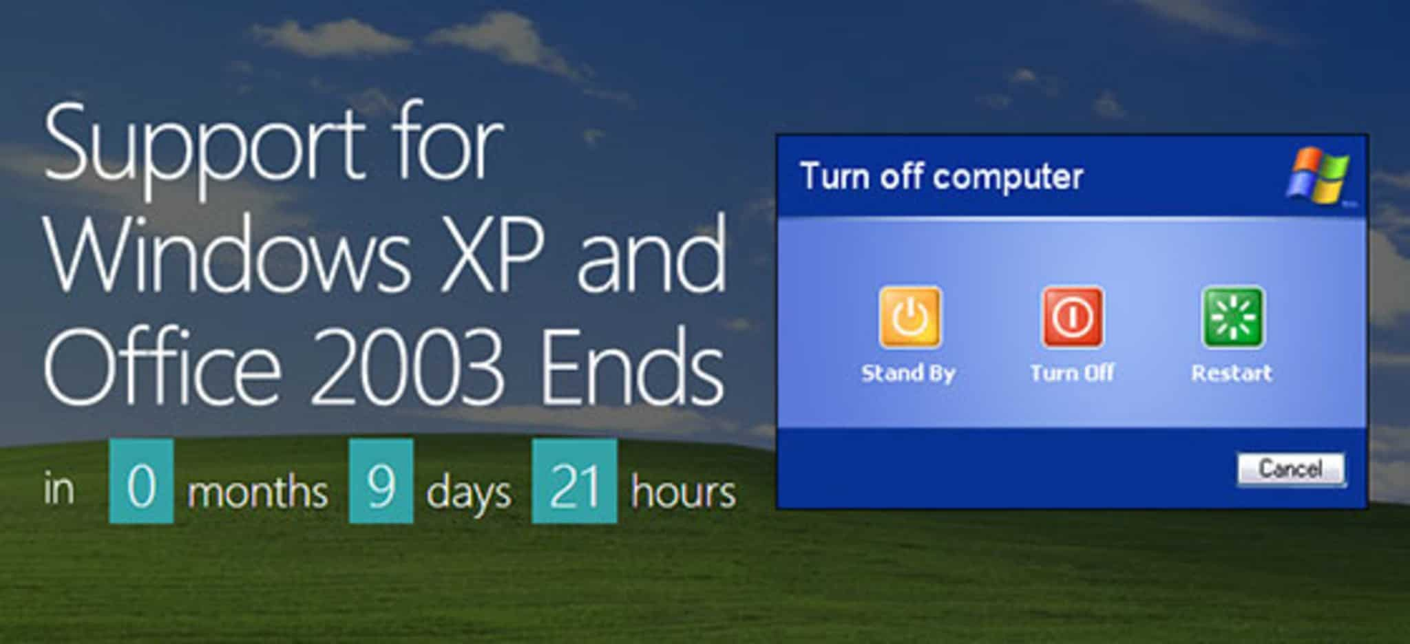 Support for Windows XP ends